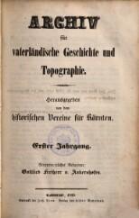 Archiv für vaterländische Geschichte und Topographie
