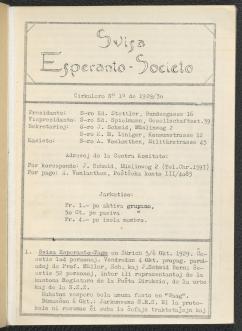 Cirkulero / Svisa Esperanto-Societo