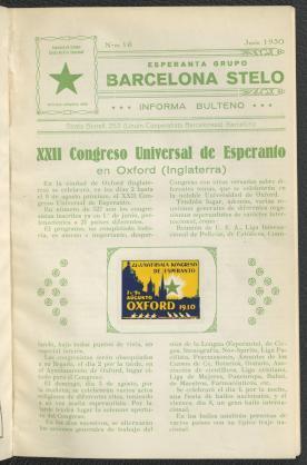Informa bulteno / Esperanta Grupo Barcelona Stelo