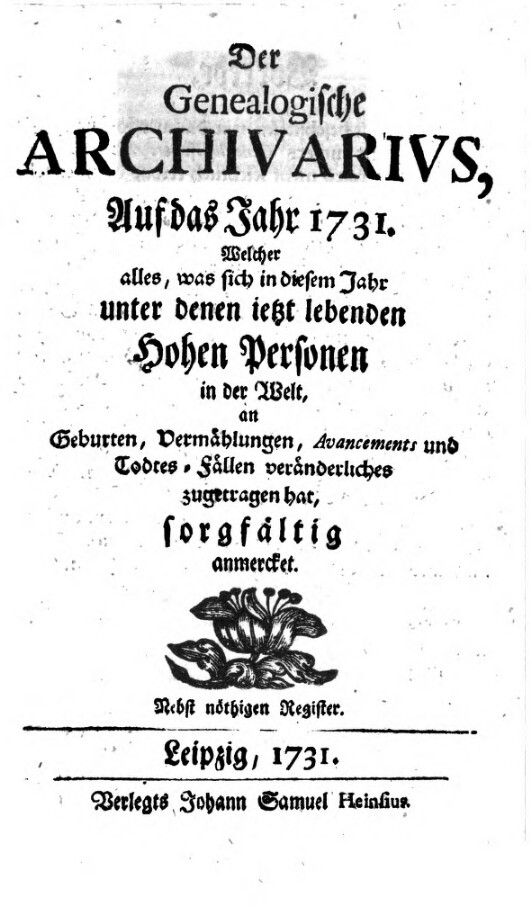 Der Genealogische Archivarius