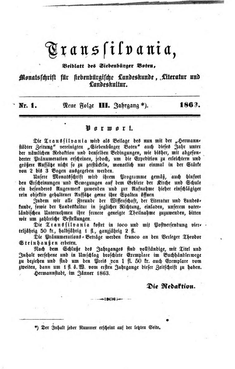 Transilvania - Beiblatt des Siebenbürger Boten
