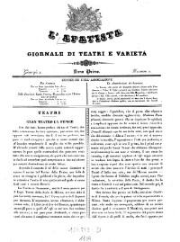 L'Apatista. Giornale die Teatri e Varietá.