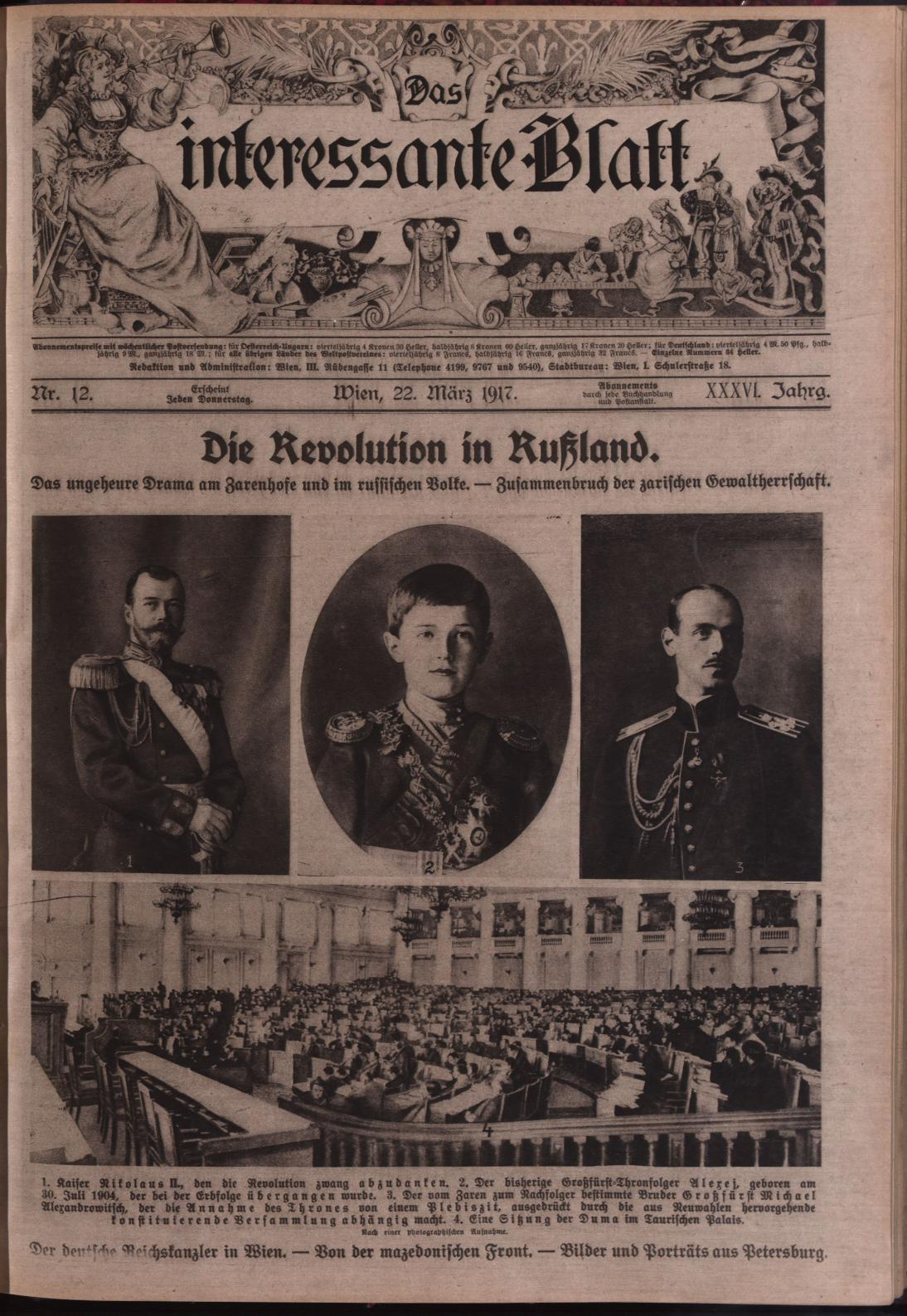 Das Interessante Blatt: covering the February revolution in Russia, that led to the abdication Tsar Nicholas II. (Collection National Library Austria)