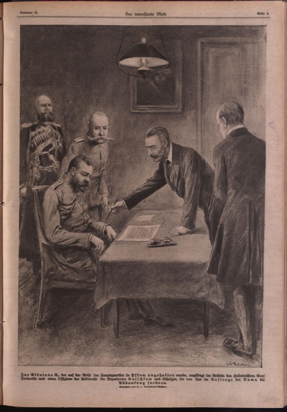 Das Interessante Blatt: the abdication of Tsar Nicolas II (Collection National Library Austria).