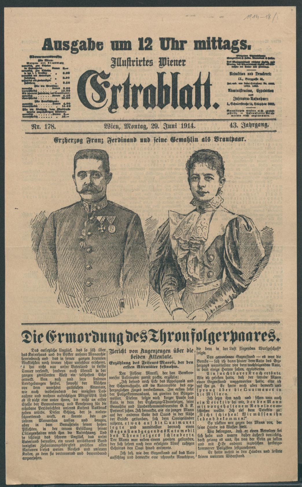 Extrablatt (extra edition) 29 June 1914: (Collection of the National Library of Austria)