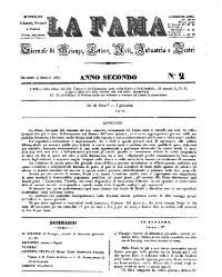 La Fama. Giornali di scienze, lettere, arti, industria e teatri