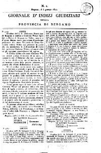Giornale d'indizi giudiziarj della provincia di Bergamo