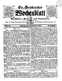 Gr(oß)-Becskereker Wochenblatt für den Geschäfts-, Gewerb- und Landmann