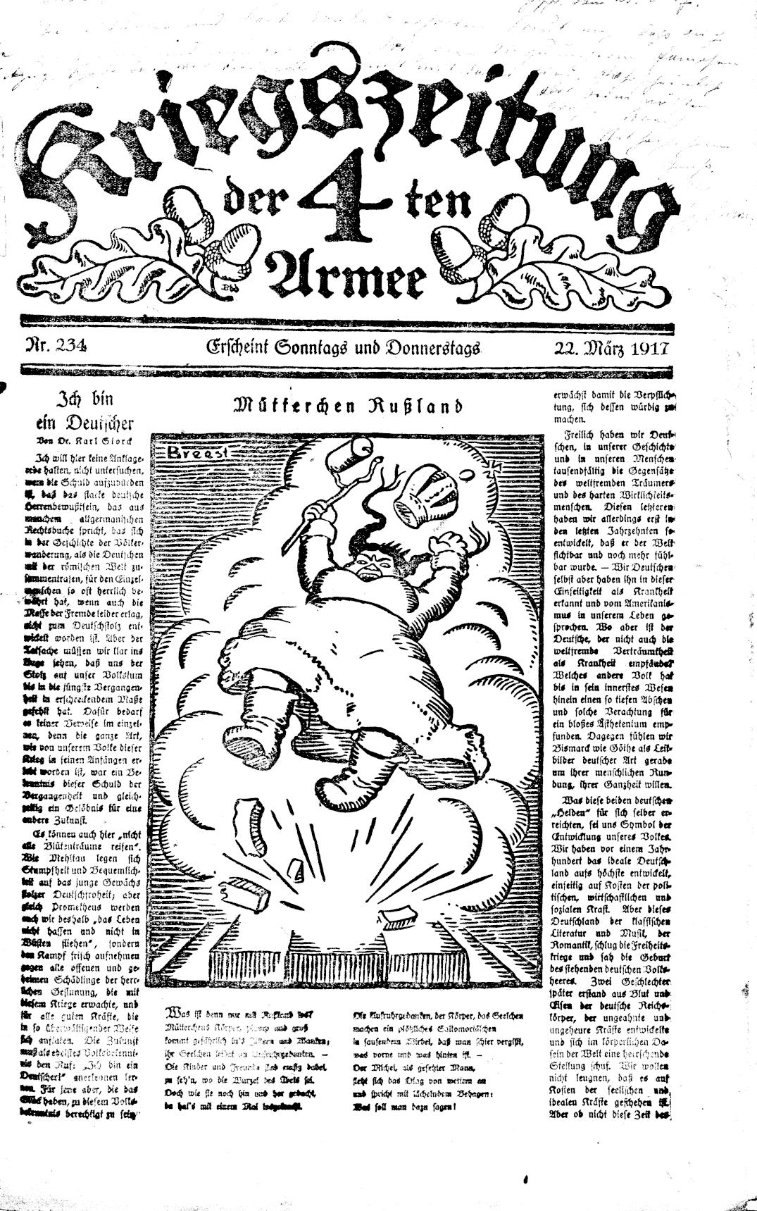 Kriegszeitung der 4. Armee: caricature of mother Russia (Collection National Library Austria)
