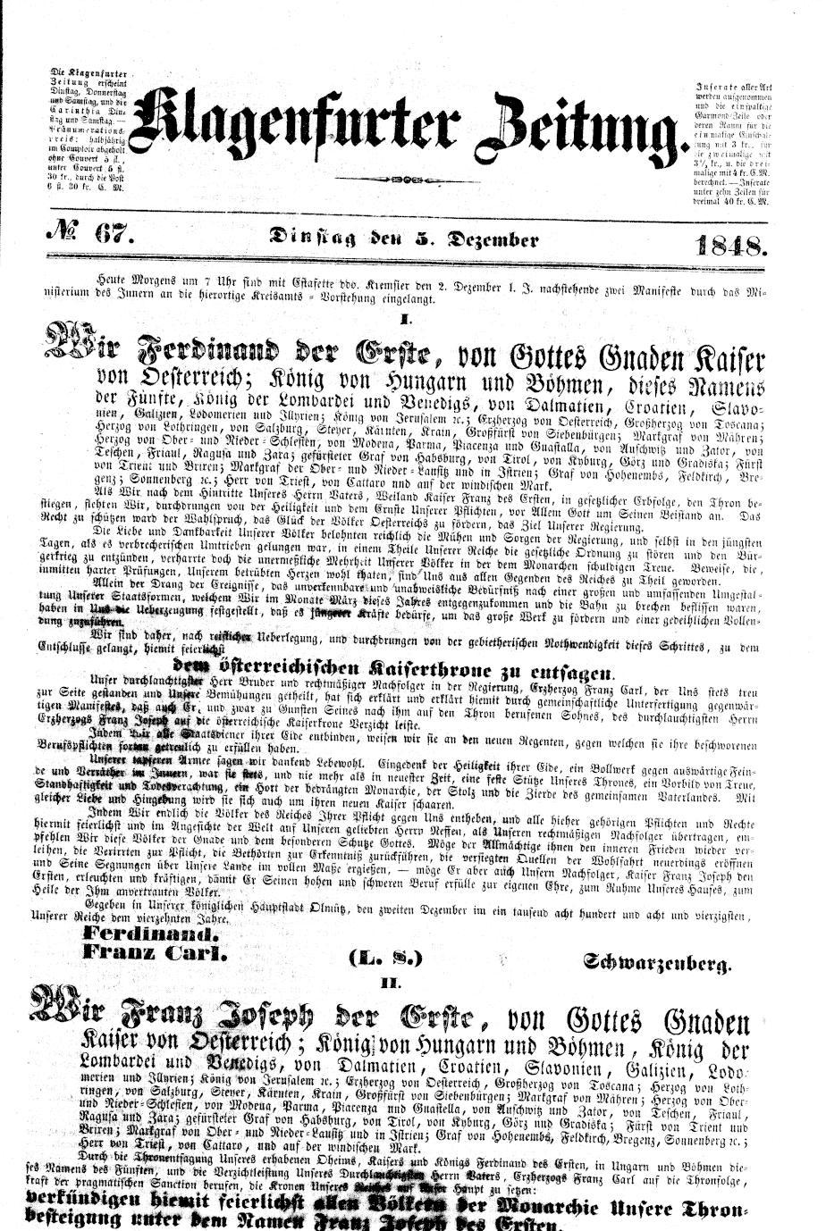 Klagenfurter Zeitung,  5. Dezember 1848, S. 1. ANNO/ÖNB