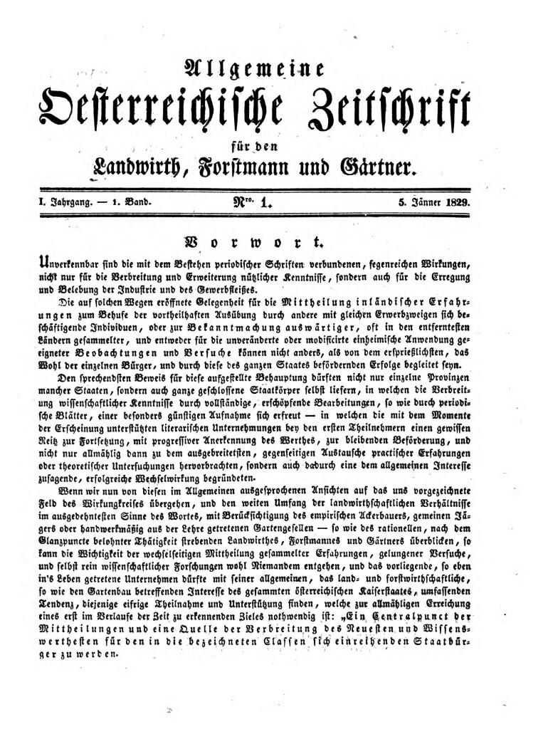 Allgemeine österreichische Zeitschrift für den Landwirth, Forstmann und Gärtner