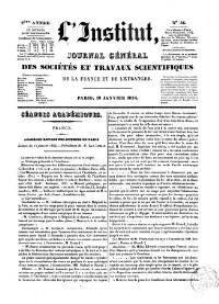 L'Institut Journal des academies et societes scientifique de la France et de l'Etranger