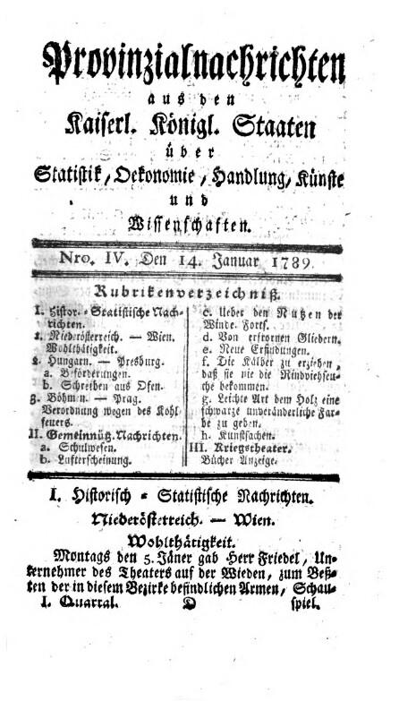 Provinzialnachrichten aus den Kaiserl. Königl. Staaten