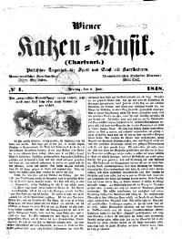 Wiener Katzen-Musik. Politisches Tagsblatt für Spott und Ernst mit Karrikaturen.