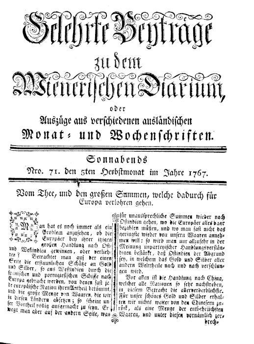 ANNO: Wienerisches Diarium 5.9.1767