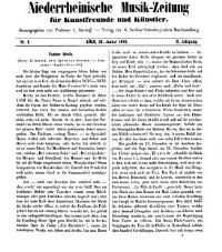Niederrheinische Musik-Zeitung für Kunstfreunde und Künstler