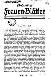 Akademische Frauenblätter