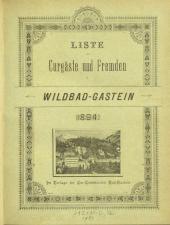 Liste der Curgäste und Fremden in Wildbad-Gastein