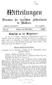 Mitteilungen des Vereines der deutschen Lehrerinnen in Mähren