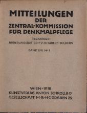 Mittheilungen der kaiserl. königl. Central-Commission zur Erforschung und Erhaltung der Baudenkmale