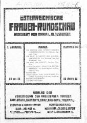 Österreichische Frauen-Rundschau. Neue Folge der