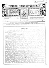 Zeitschrift für Frauen-Stimmrecht. Organ für die politischen Interessen der Frau