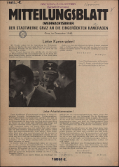 Mitteilungsblatt der Stadtwerke Graz an die eingerückten Kameraden