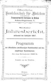 Jahresbericht Öffentliche Handelsschule für Mädchen des Frauenerwerb-Vereines in Brünn