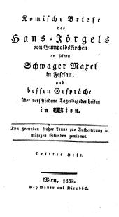 (Neue) Komische Briefe des Hans-Jörgels von Gumpoldskirchen