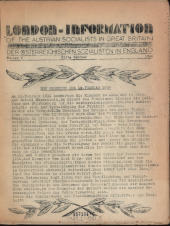 London Information of the Austrian Socialists in Great Britain