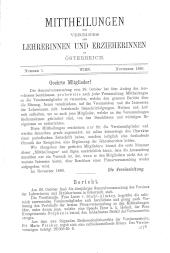 Mittheilungen des Vereines der Lehrerinnen und Erzieherinnen in Österreich