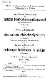 Jahresbericht des deutschen Mädchenlyzeums in Budweis