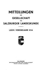 Mitteilungen der Gesellschaft für Salzburger Landeskunde