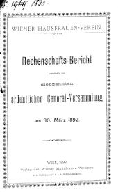 Wiener Hausfrauen-Verein. Rechenschaftsbericht