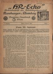 Betriebsnachrichten für die Gefolgschaft der Firma Herrburger u. Rhomberg, Dornbirn, Innsbruck, Wien