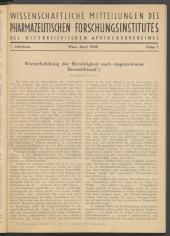 Wissenschaftliche Mitteilungen des Pharmazeutischen Forschungsinstitutes des Österreichischen Apothekervereines