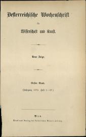 Österreichische Wochenschrift für Wissenschaft und Kunst