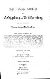 Oesterreichische Zeitschrift für Gesetzgebung und Rechtsprechung auf dem Gebiete der Verwaltungs-Rechtspflege