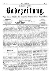 OEB - Oesterreichische Badezeitung : Organ für die Interessen der europäischen Kurorte und des Kurpublikums, 1886-05-02