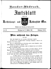 Sonder-Abdruck Amtsblatt Wien