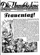 Die Unzufriedene, 1931, S. 1. ANNO/ÖNB