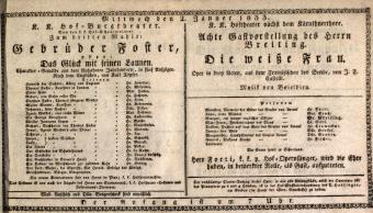 Theaterzettel (Oper und Burgtheater in Wien)