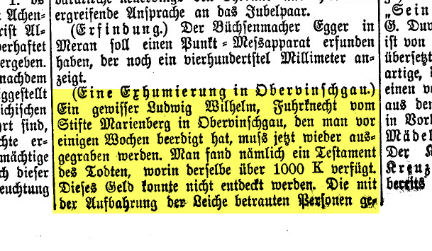Eine Exhumierung im Obervinschgau