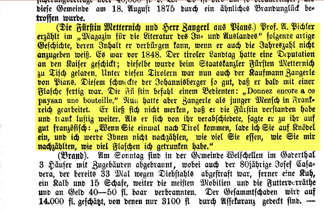 Fürstin Metternich und Herr Zangerl aus Pians